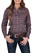Rough Stock by Panhandle Women's Navy and Orange Aztec Print Long Sleeve Western Shirt