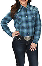 Rough Stock by Panhandle Women's Blue Plaid Aztec Embroidered Western Snap Shirt