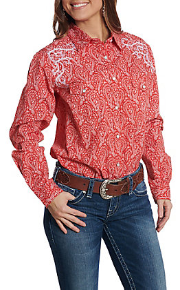 Rough Stock by Panhandle Women's Red Paisley Print Long Sleeve Western Shirt
