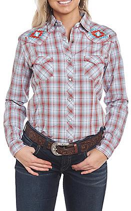 Rough Stock by Panhandle Women's Turquoise & Orange Aztec Print Long Sleeve Western Shirt