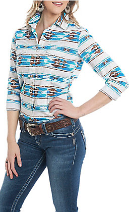 Rough Stock by Panhandle Women's Turquoise Aztec Print Long Sleeve Western Shirt