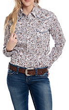 Panhandle Women's White with Blue and Orange Paisley Print Long Sleeve Western Shirt