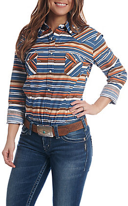 Rough Stock by Panhandle Women's Striped Aztec Print Long Sleeve Western Shirt