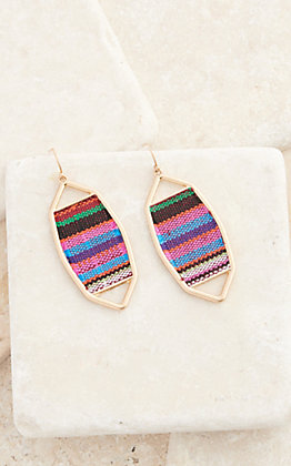 Amber's Allie Gold with Multi-Colored Serape Dangle Earrings