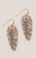 Amber's Allie Gold Arrowhead Bling Earrings