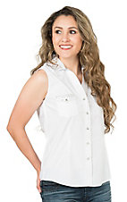 Panhandle Women's White with Rhinestone Accents Sleeveless Western Shirt