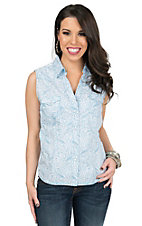 Rough Stock by Panhandle Women's Turquoise & White Vintage Paisley Print Sleeveless Western Shirt