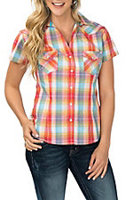 Panhandle Women's Red and Yellow Plaid S/S Western Snap Shirt