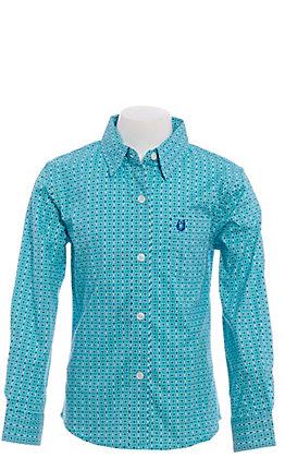 Panhandle Girls' Turquoise Geo Print Long Sleeve Western Shirt