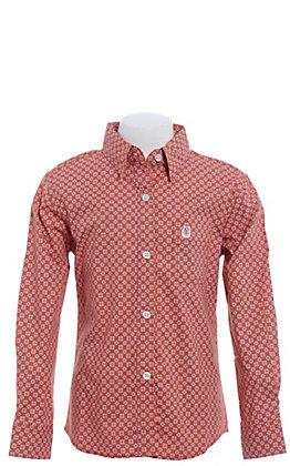 Panhandle Girls' Orange Geo Print Long Sleeve Western Shirt