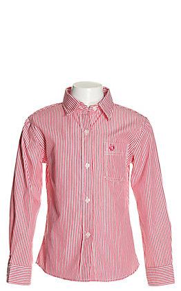 Panhandle Girls' Pink & White Stripes Long Sleeve Western Shirt