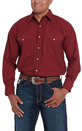 Resistol Double R Men's Solid Red Long Sleeve Western Snap Shirt