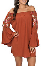 Umgee Women's Rust Off the Shoulder Long Sleeve Floral Embroidered Dress