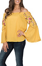 Umgee Women's Yellow Off the Shoulder Embroidered Bell Sleeve Top