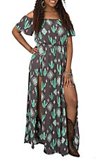 Berry N Cream Women's Grey and Green Tribal Cactus Print Maxi Romper Dress