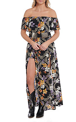 Berry N Cream Women's Black Floral Off the Shoulder Maxi Romper Dress