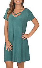 Umgee Women's Washed Teal Short Sleeve Casual Dress