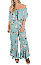 Peach Love Women's Sage Multicolored Skull with Floral Jumpsuit