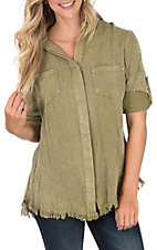 Umgee Women's Olive Frayed Split Back Top