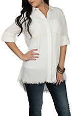 Umgee Women's Cream Frayed Fashion Shirt