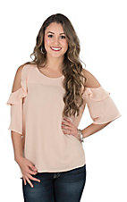 Umgee Women's Bisque Ruffled Cold Shoulder 1/2 Sleeve Fashion Top