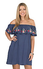 Umgee Women's Navy with Floral Embroidered Ruffle Sleeveless Off the Shoulder Dress