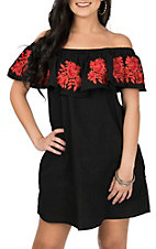 Umgee Women's Black and Red Floral Off the Shoulder Dress