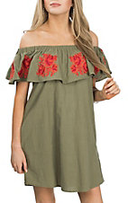 Umgee Women's Olive Floral Off the Shoulder Dress