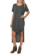 Umgee Women's Grey T-Shirt with Side Slits S/S Maxi Dress