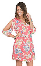Umgee Women's Coral Floral Print Dress