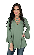 Umgee Women's Solid Sage Criss Cross Neckline Long Sleeve Fashion Shirt