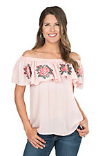 Umgee Women's Blush with Floral Embroidery Off Shoulder Fashion Top