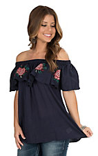 Umgee Women's Navy Embroidery Off Shoulder Fashion Top