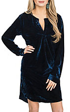 Umgee Women's Midnight Blue Velvet Dress