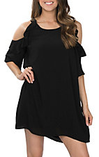 Umgee Women's Black Ruffle Cold Shoulder A-line Dress