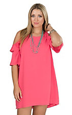Umgee Women's Rose Pink Ruffle Cold Shoulder A-line Dress