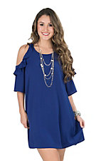 Umgee Women's Cobalt Blue Ruffle Cold Shoulder A-line Dress
