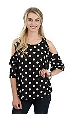 Umgee Women's Black Polka Dot Cold Shoulder 1/2 Sleeve Fashion Top