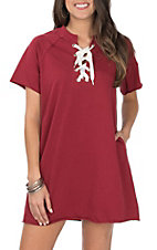 Umgee Women's Burgundy and with White Lace Up Drawstring Short Sleeve Knit Dress