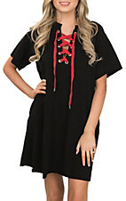 Umgee Women's Black and Red Lace Up Drawstring Short Sleeve Knit Dress