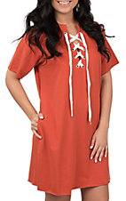 Umgee Women's Burnt Orange and White Lace Up Drawstring Short Sleeve Knit Dress