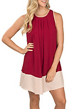 Umgee Women's Crimson and Ivory Two Tone Dress