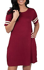 Umgee Women's Burgundy and Ivory Tee Dress