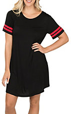 Umgee Women's Black and Red Tee Dress