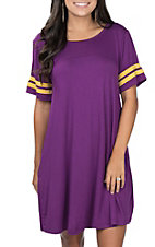 Umgee Women's Purple and Yellow Tee Dress