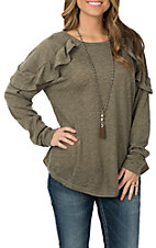 Umgee Women's Olive Long Sleeve w/ Ruffle Casual Knit Shirt