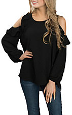 Umgee Women's Black Ruffled Cold Shoulder Fashion Shirt