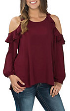 Umgee Women's Wine Ruffled Cold Shoulder Fashion Shirt