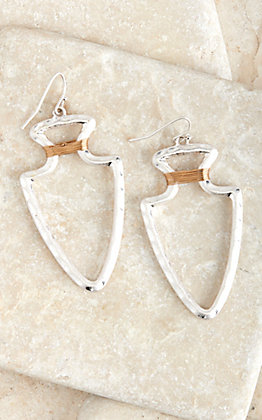 Amber's Allie Silver with Gold Wire Open Arrowhead Earrings