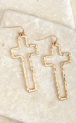 Amber's Allie Gold Open Cross Earrings